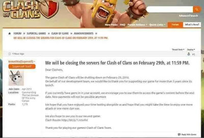 Clash of Clans akan Ditutup