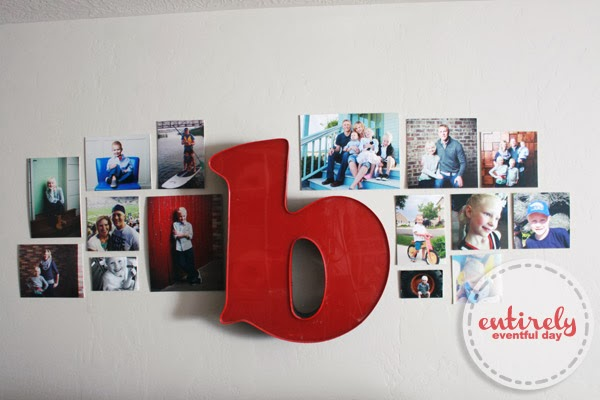 How to create a kid-friendly (non-fragile) gallery wall. #gallerywall #playroom www.entirelyeventfulday.com