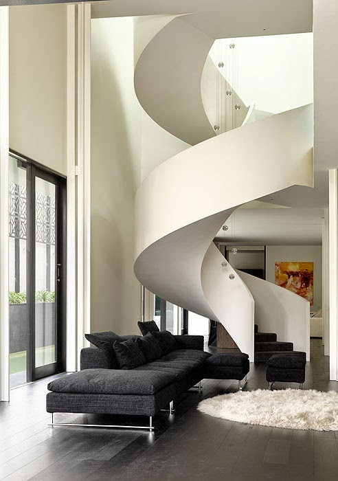 creative spiral stairs , white color