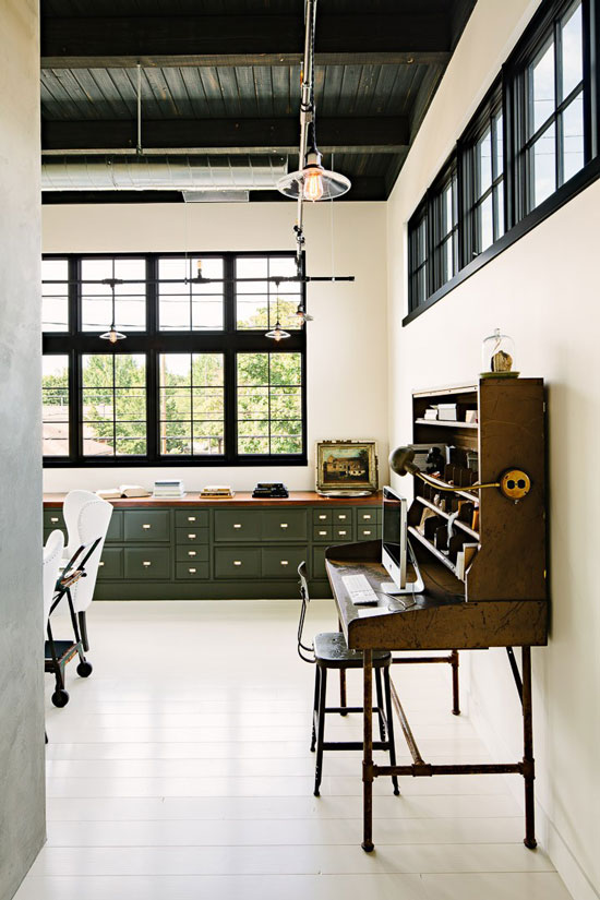 Elegant Industrial Loft Home Office