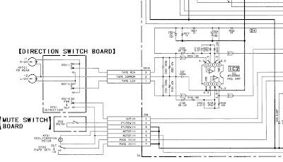 разъёмы магнитофона на схеме SONY - XR1953