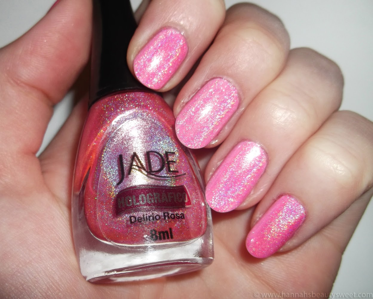 Jade Delirio Rosa, NOTD, holographic nail polish, Delirio Rosa, pretty, cute, girly