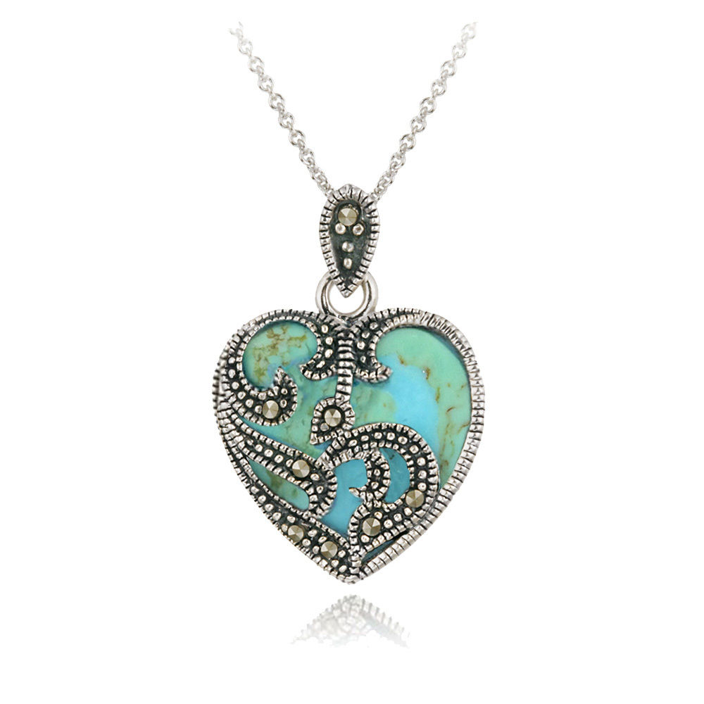 Only $19.99 925 Sterling Silver Marcasite & Turquoise Heart Necklace