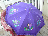 "purple fairies on a ""red hat"" parasol"
