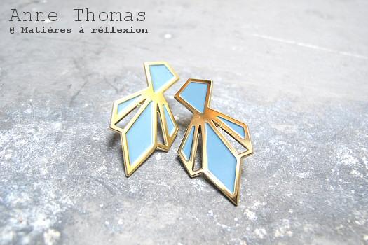 SOLDES Anne Thomas boucles Palais Royal gris bleu