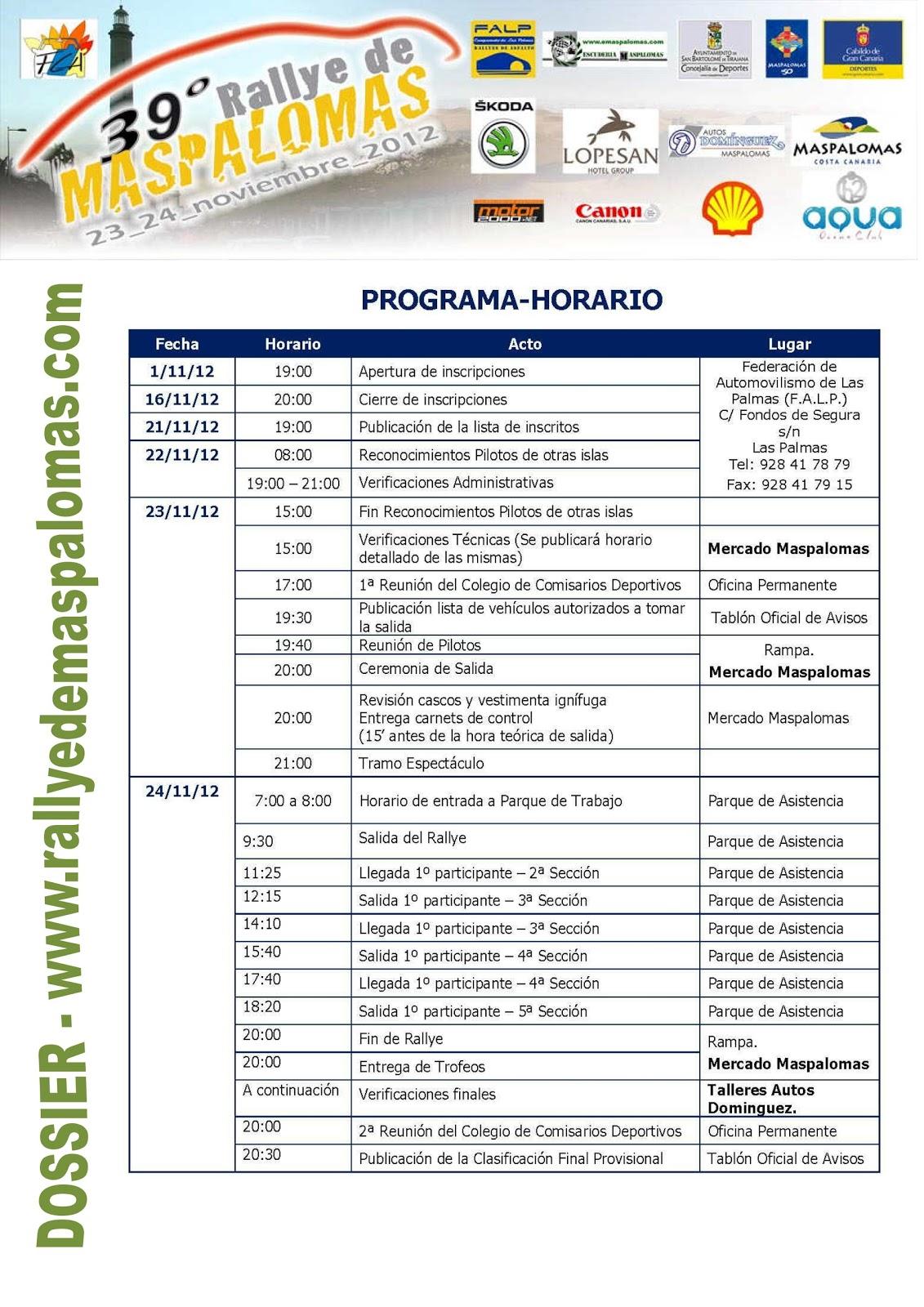 Rally de maspalomas 2012 programa horario ruta for Jardin canario horario