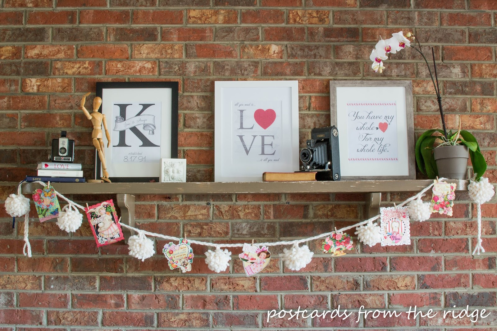 Valentine's printable artwork. Two of them are free! Postcards from the Ridge.