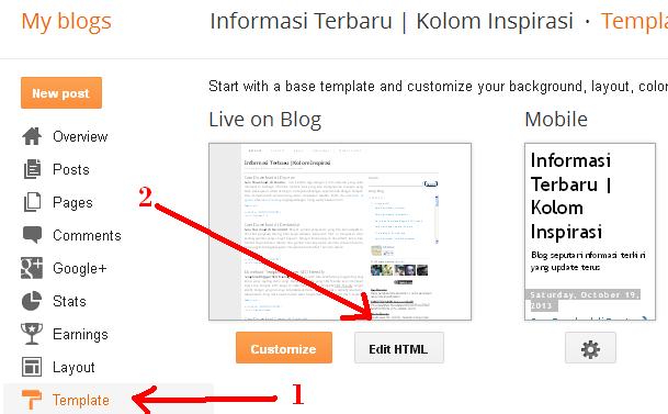 Cara Memasang Iklan di Bagian Kanan / Kiri Posting Blog bagian 1