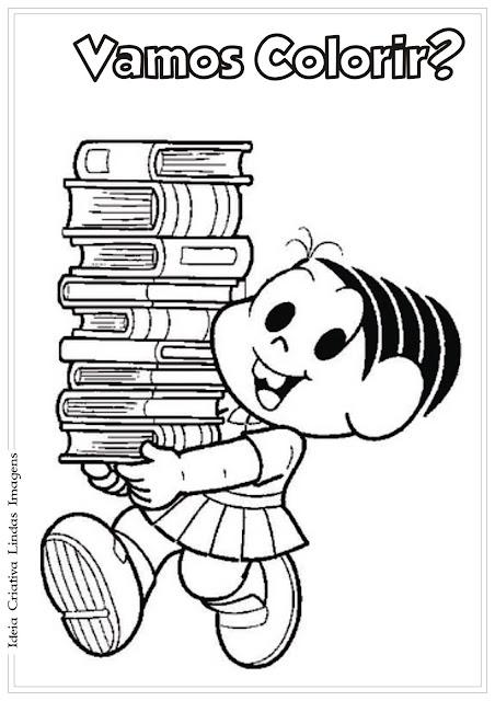 Desenho Mônica com livros para colorir