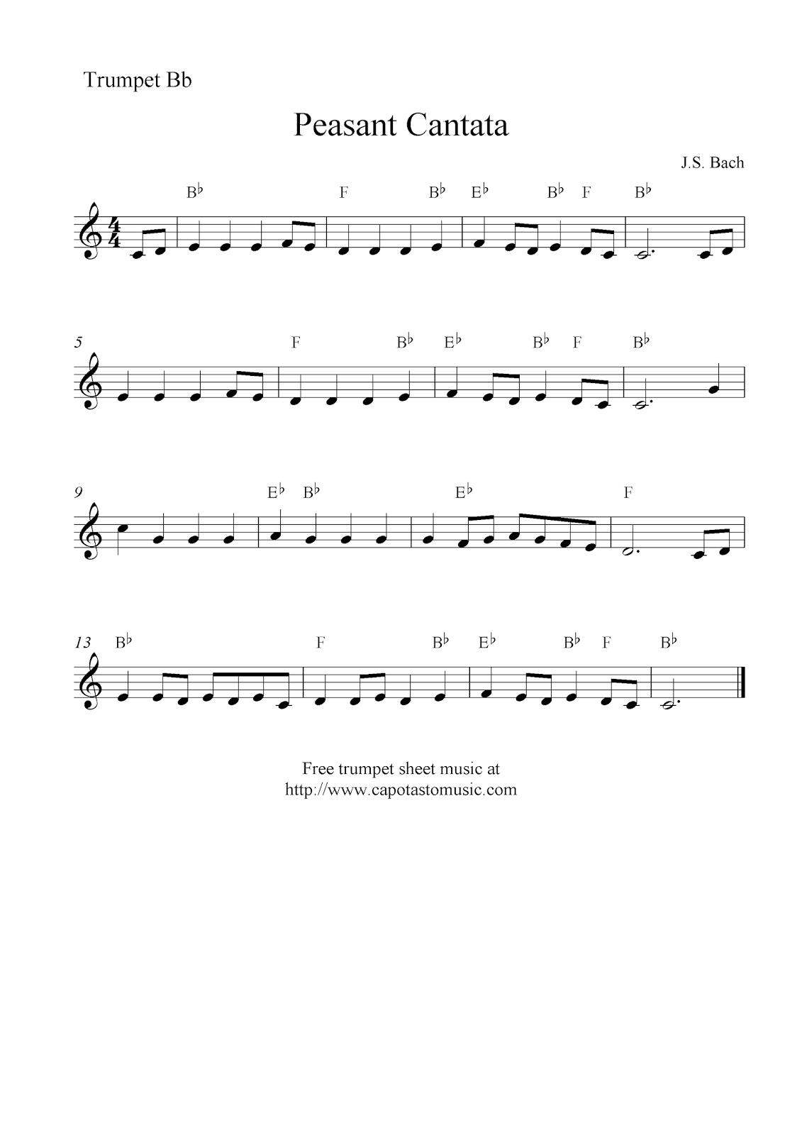 Peasant cantata bach free trumpet sheet music notes