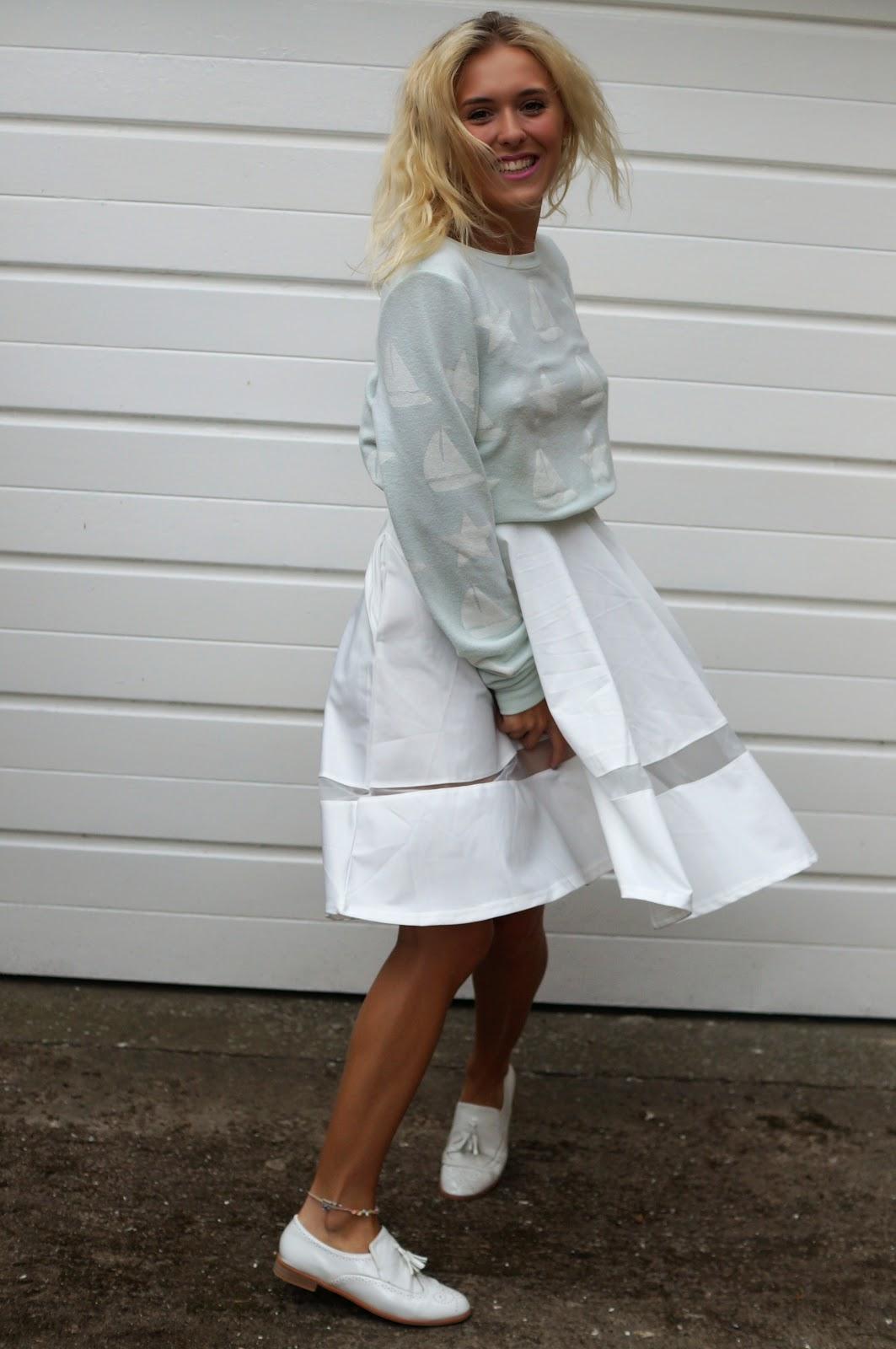 Scuba Volume Midi Skirt with Sheer Insert