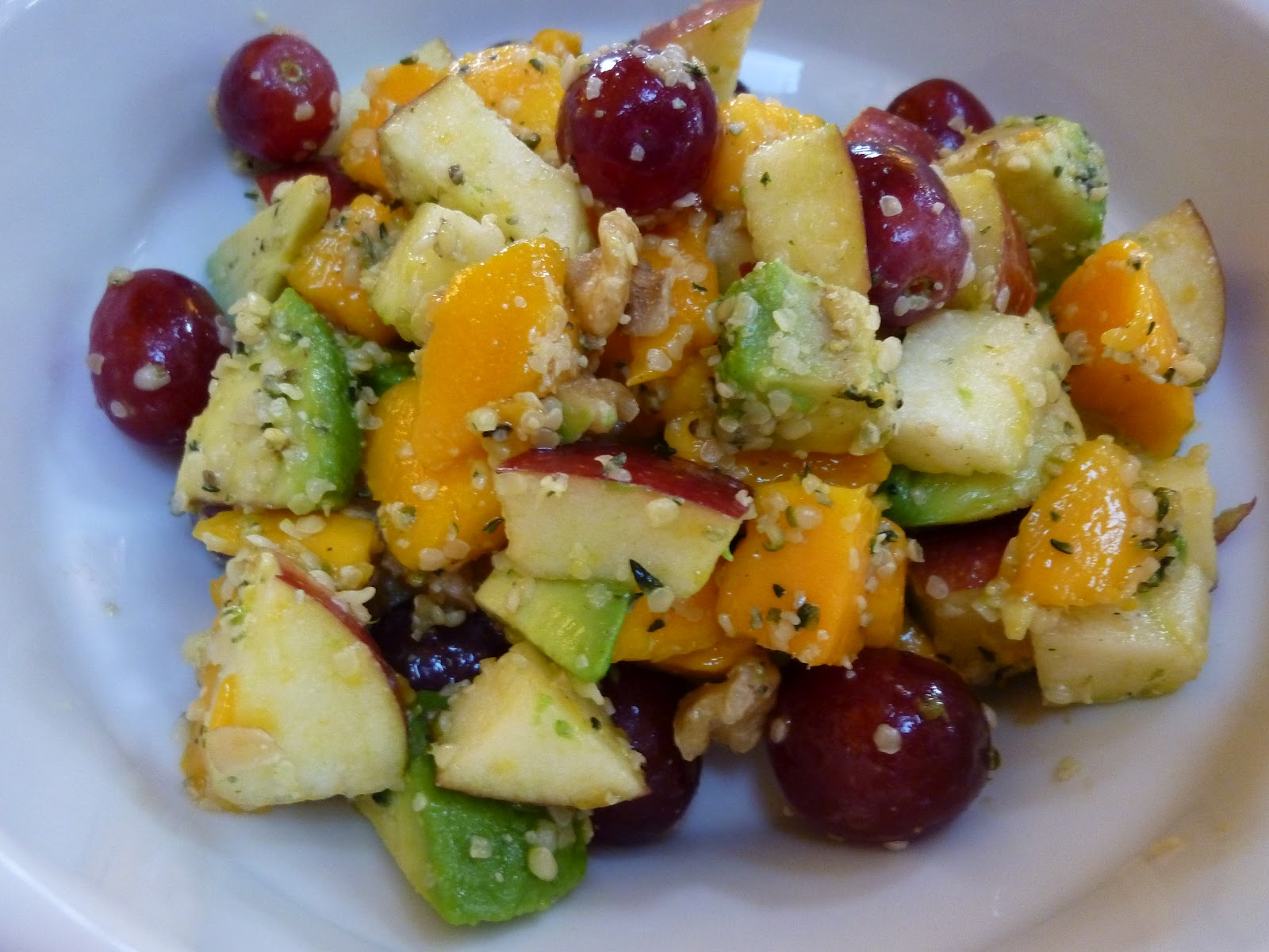 Foods for long life one day raw food cleanse without a blender fruit salad with mango apple grapes avocado walnuts and hemp seeds forumfinder Images