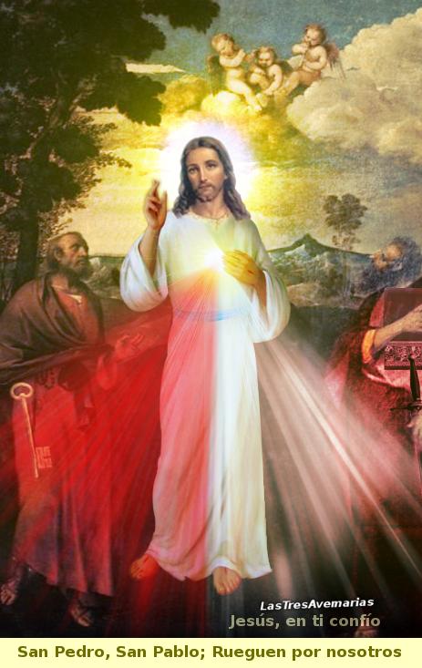jesus misericordiosos y apostoles pedro y pablo