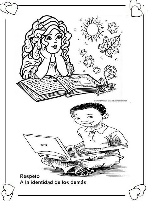 LAMINAS PARA COLOREAR  COLORING PAGES Deberes y Derechos del