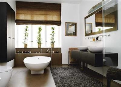baño moderno acentos orientales