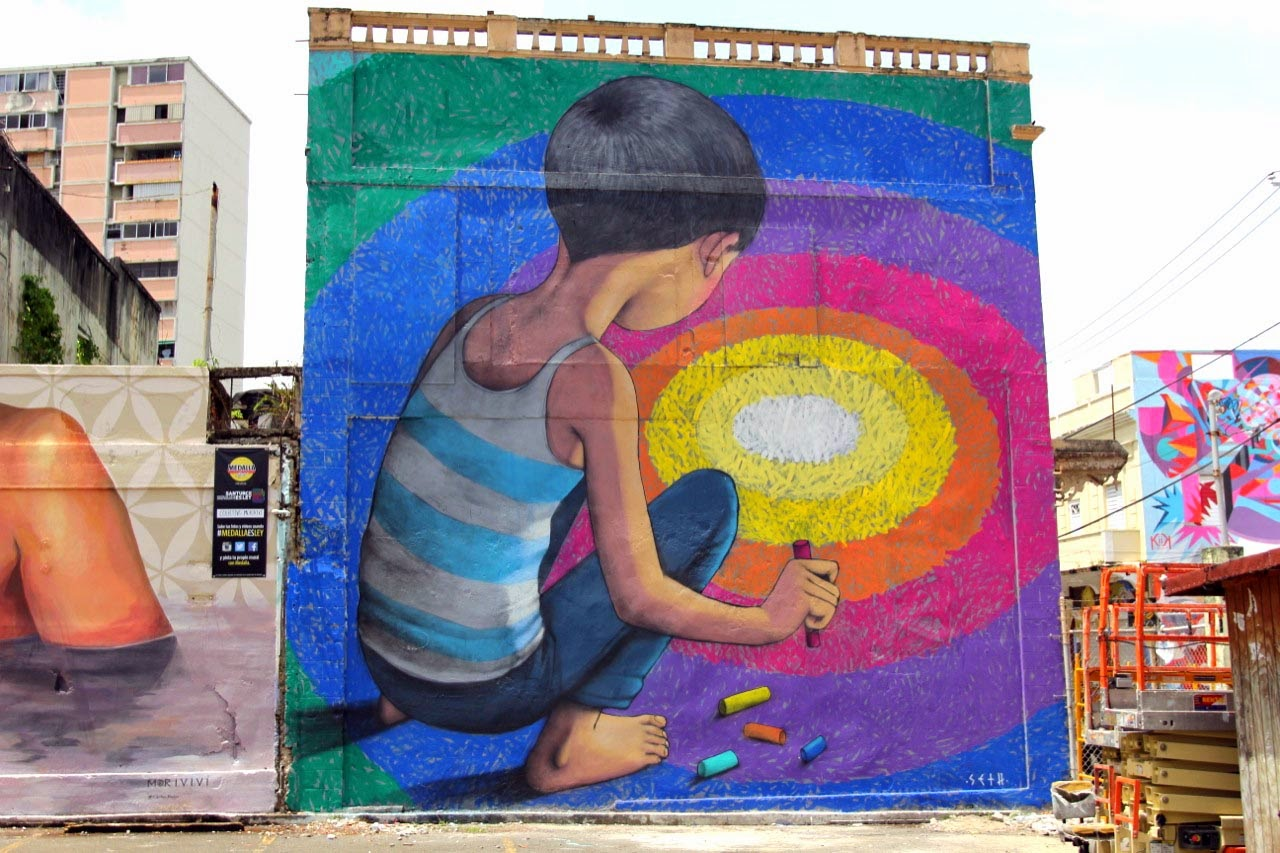 Seth GlobePainter just wrapped up this massive new piece on the streets of San Juan on the island of Puerto Rico.