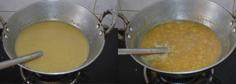 adding coconut milk to ada pradhaman