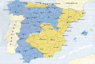 Mapa de España durante la Guerra Civil. 1937