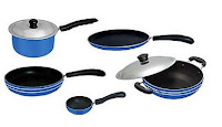 Buy Apricoat Cookware Set of Dosa Tawa, Fry Pan, Deep Kadhai, Tadka Pan And Sauce Pan at Rs.1199
