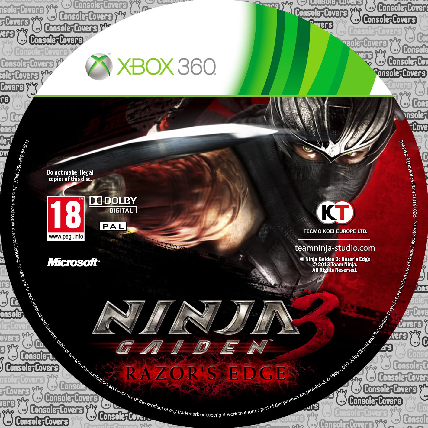 Label Ninja Gaiden 3 Razors Edge Xbox 360