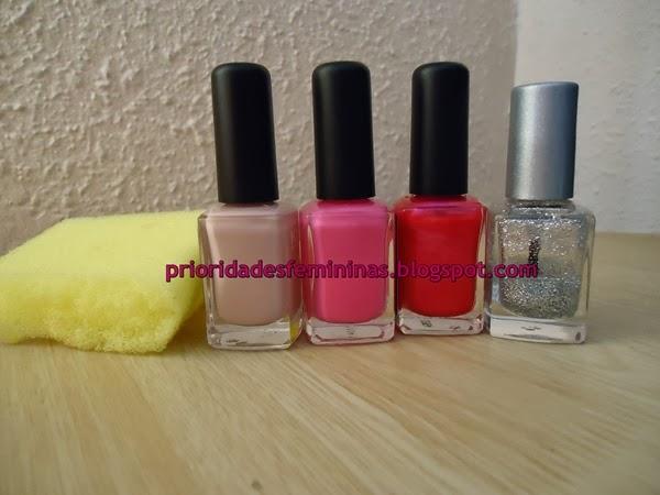 esponja, esmalte rosa nude, shock, barbie, glitter