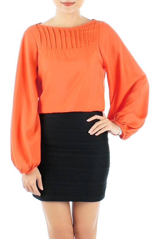 Bishop Long Sleeve Blouse with Pintuck Detail