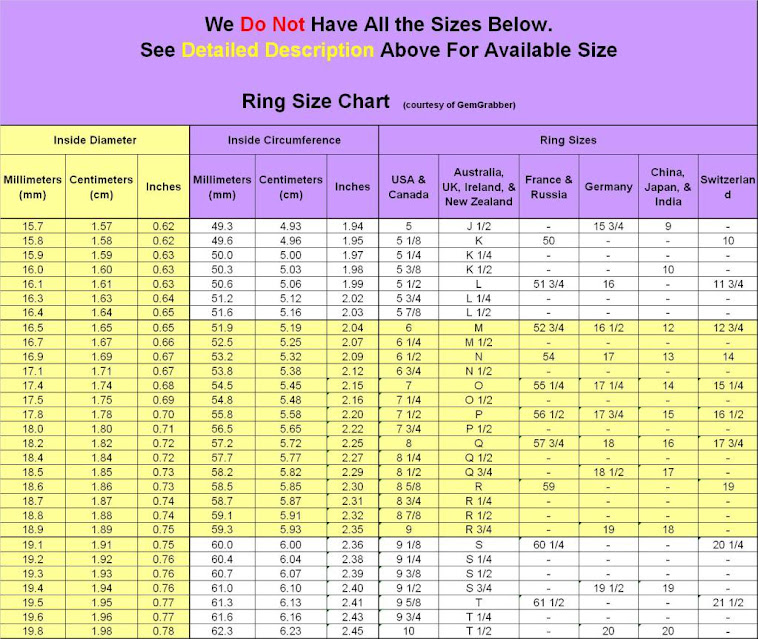 Ring Size Chart Ring Size Conversion Chart