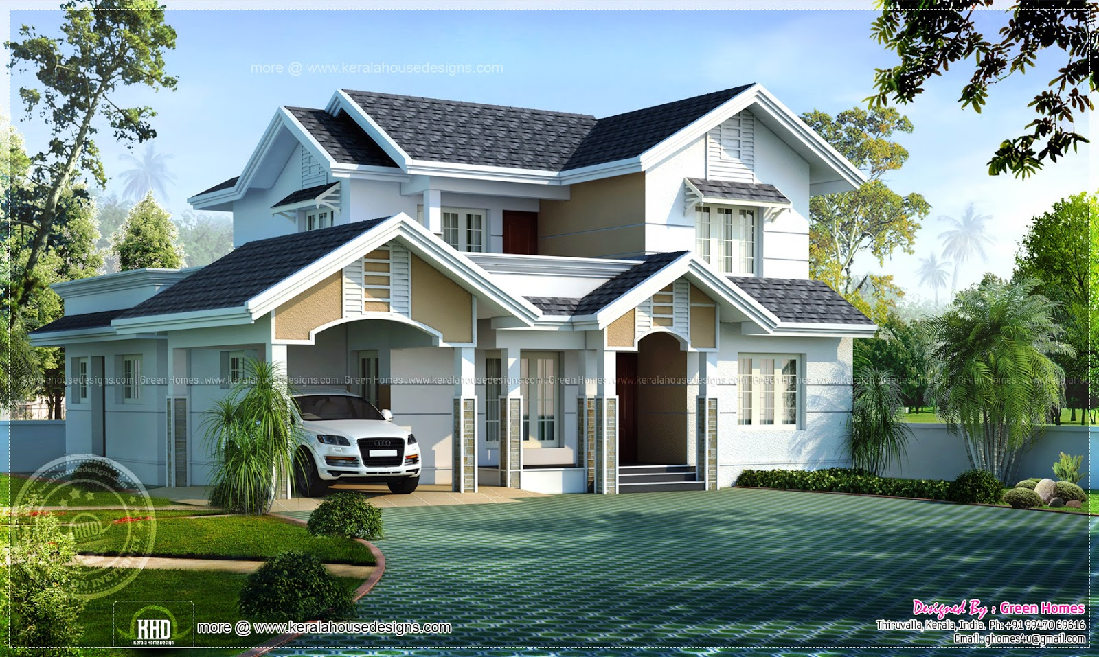 4 bedroom sloping roof home in 2236 sq feet home kerala On kerala sloped roof home design modern sober coloured