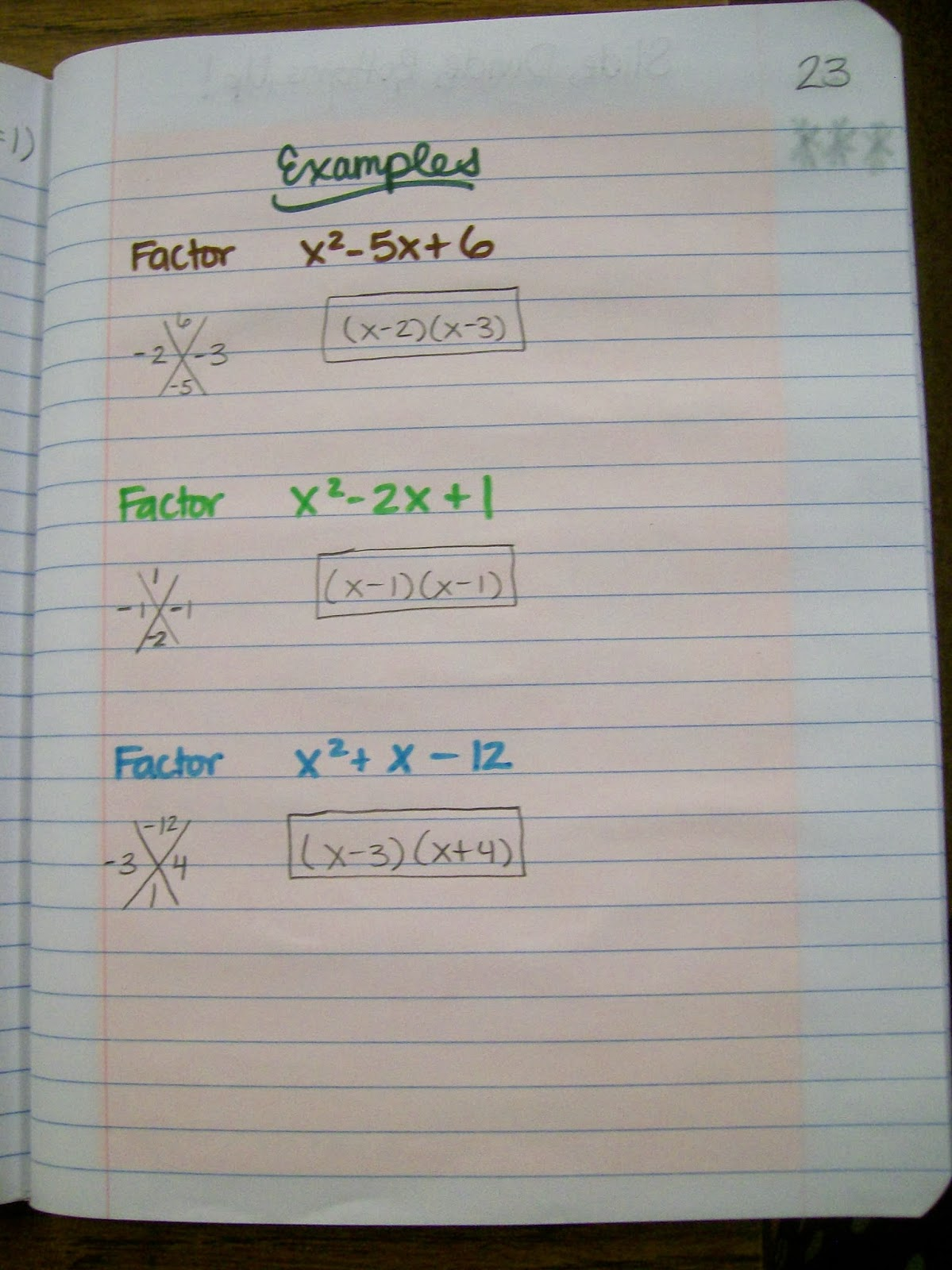 Examples Of Factoring Quadratic Trinomials With A Leading Coefficient Of 1