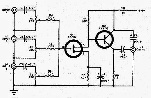 electronica proyectos  circuito mezclador con tres entradas