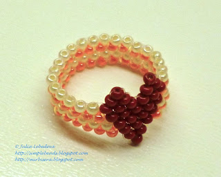 Beaded ring with heart in brick stitch