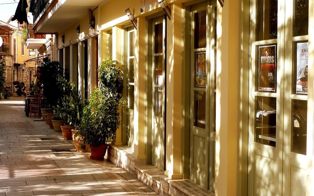 Gasse in der Altstadt von Lefkada Stadt, Griechenland