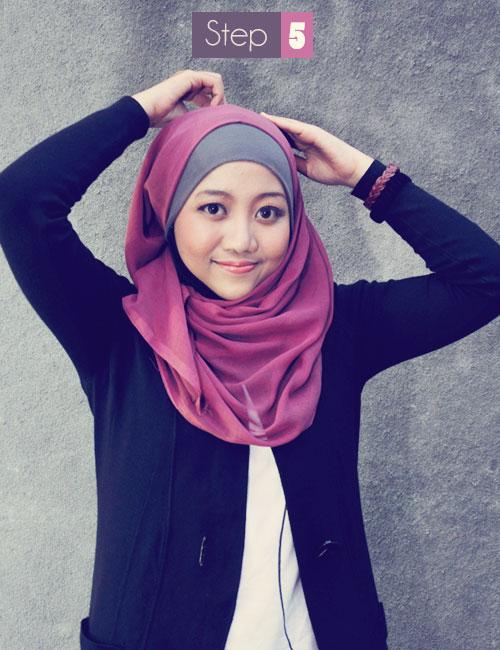 Tutorial Hijab Simpel dengan Jilbab Segi Empat