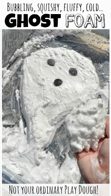 Ghost Foam- bubbling, squishy, mold-able, naturally COLD foam.  Kids get to play ghost busters and make the ghosts they form disappear right before their eyes.  Seriously COOL!