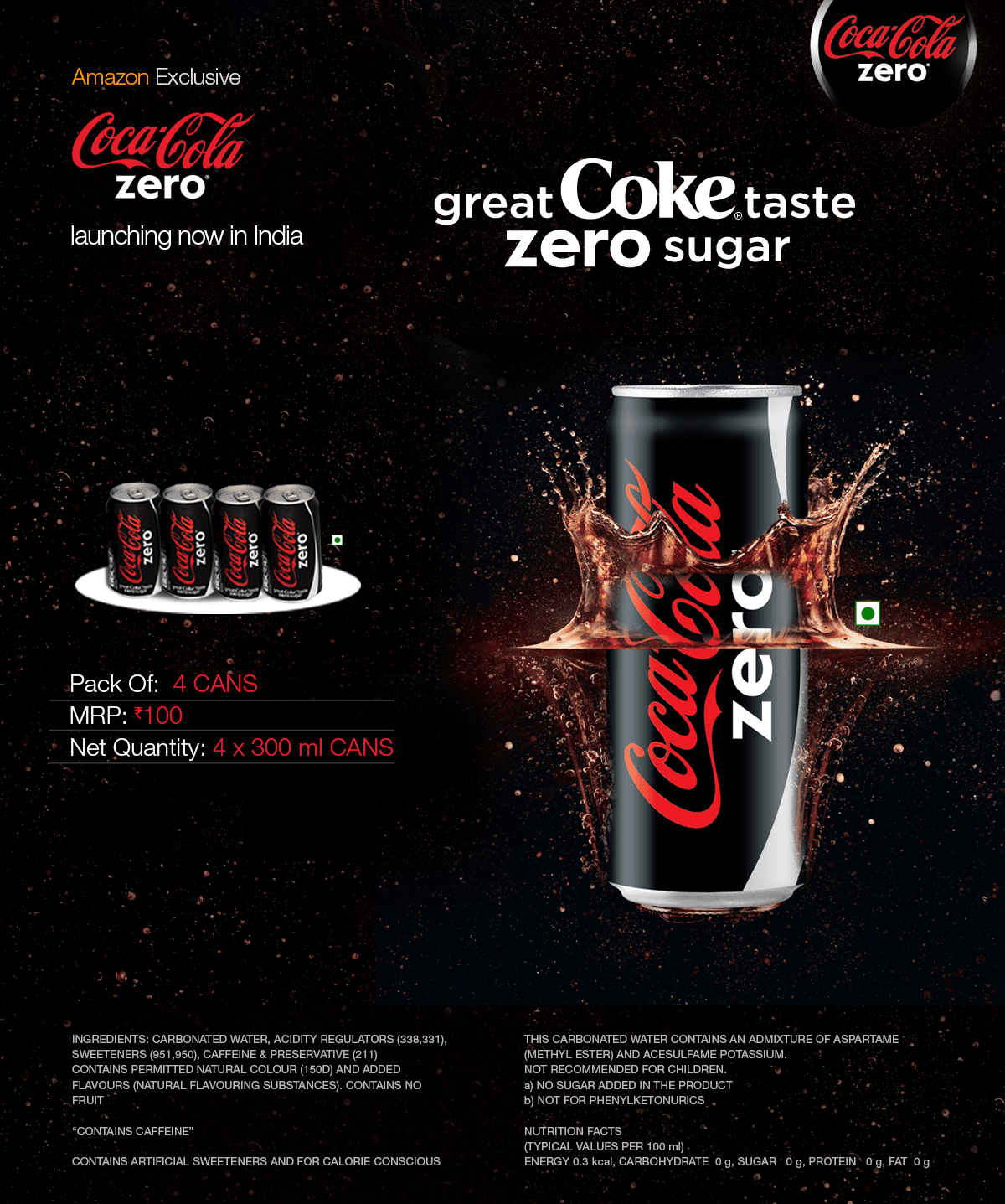 buy coca cola zero 300ml pack of 4 online at low prices in india. Black Bedroom Furniture Sets. Home Design Ideas