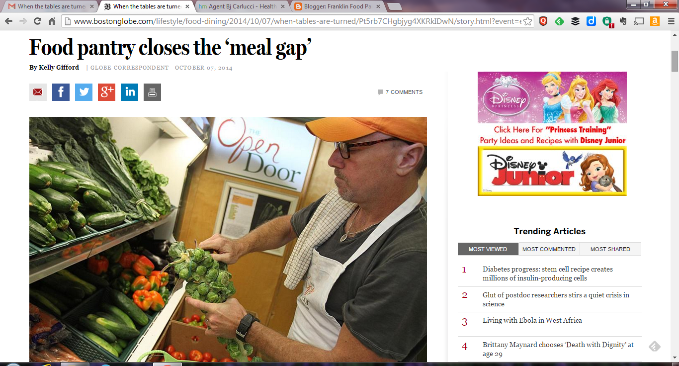 "screen grab of the Boston Globe article ""Food pantry closes the 'meal gap'"