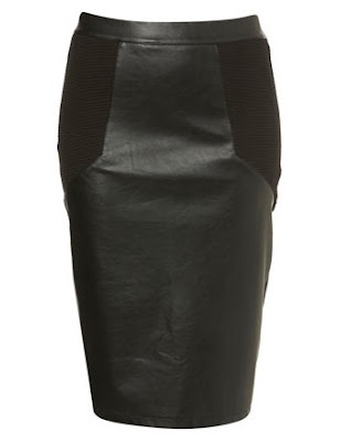 PU Pencil Rib Side Skirt