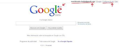 Página de Google.com cuando has iniciado sesión