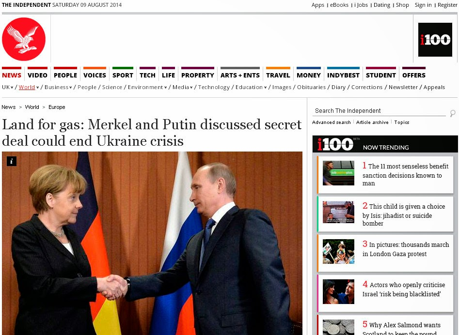 Land for gs: Merkel and Putin discussed secret deal could end Ukraine crisis