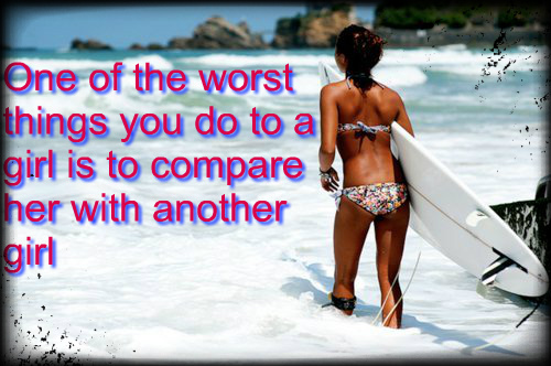 You compare her with someone else