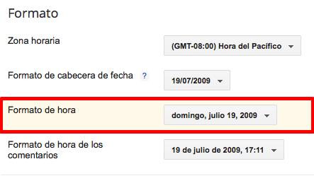 Configuración de fecha Undefined en Blogger