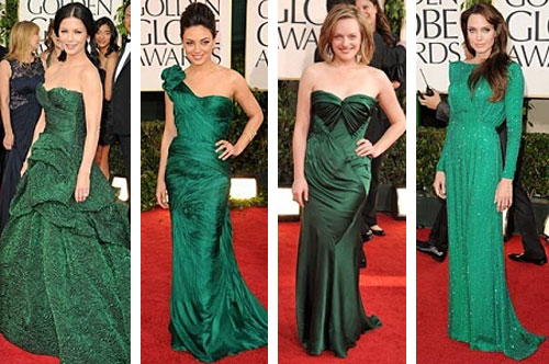 Color unas vestido verde esmeralda