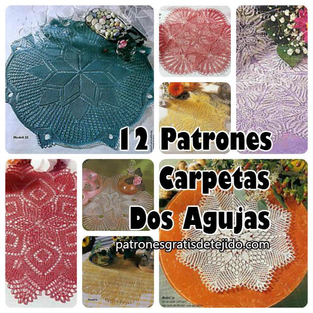 12 patrones de carpetas tejidas dos agujas