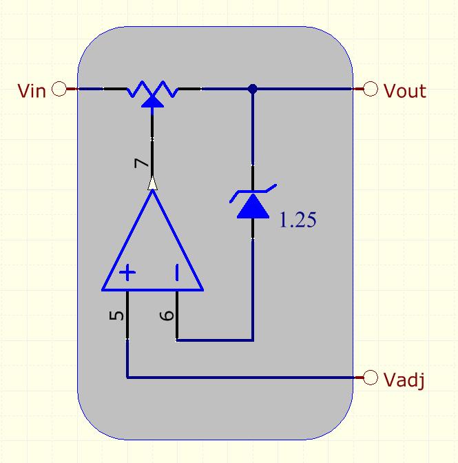 Esquema funcional de un LM317