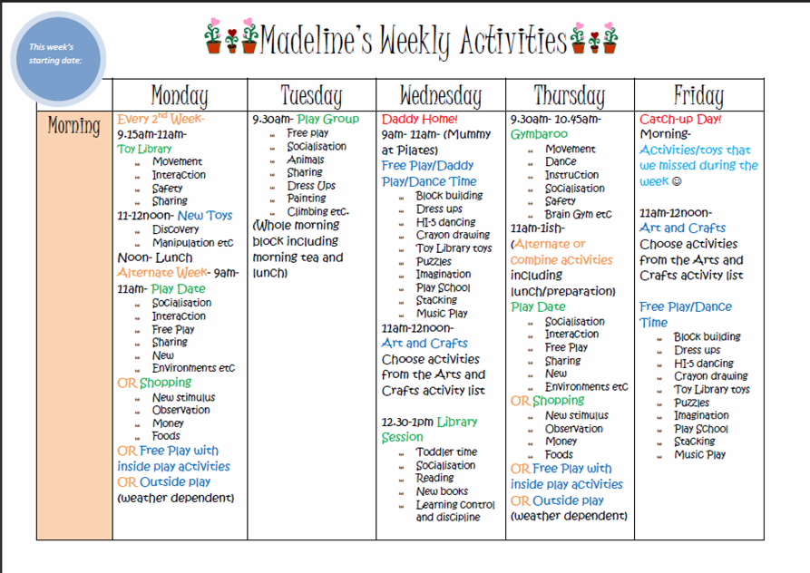 learn with play at home weekly kids activity planner With activity programme template