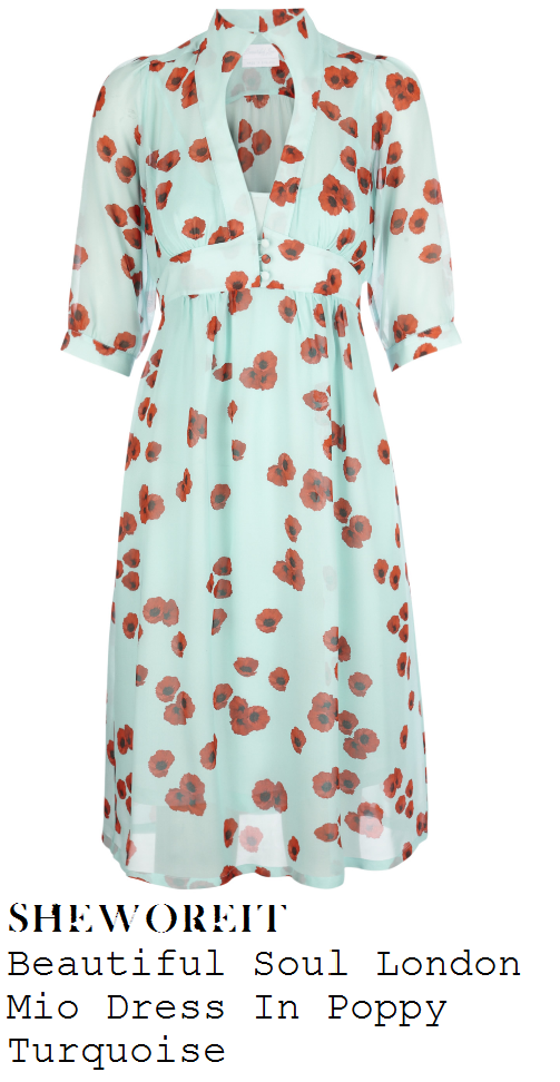 kimberley-walsh-mint-turquoise-all-over-poppy-floral-print-three-quarter-sleeve-dress