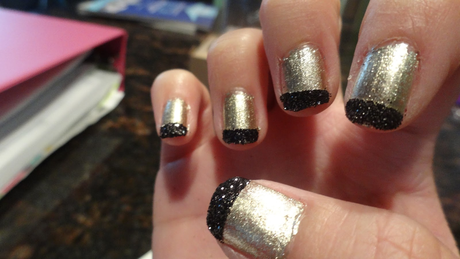 Domesticated Diva: DIY Chic Holla-ween Nails...Black and Gold ...