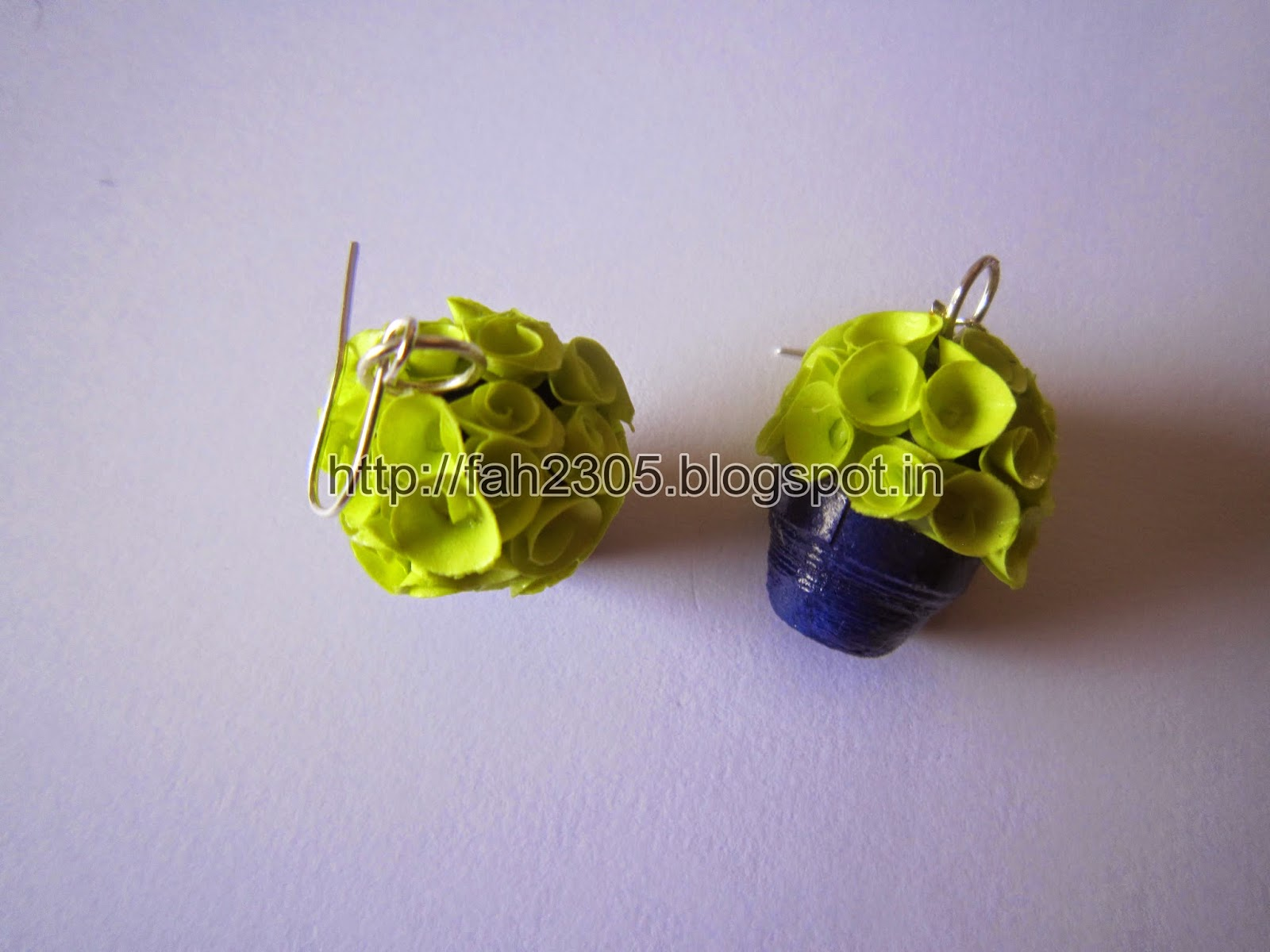 Fah Creations Handmade Jewelry Paper Quilling Flower Pot Earrings