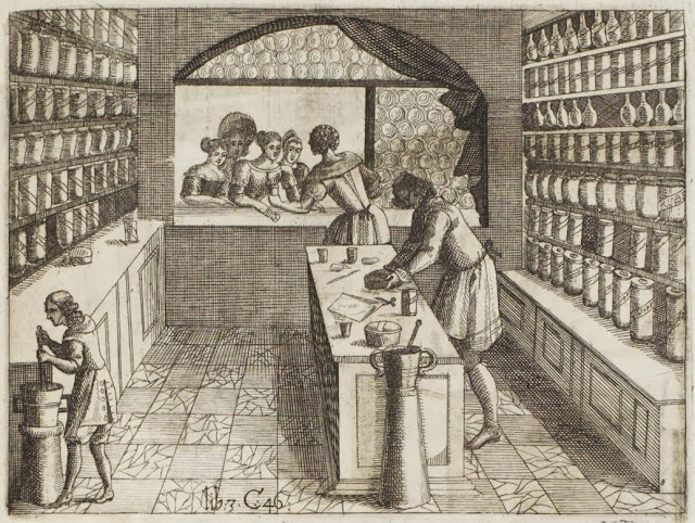 17th century engraving - farm chemist store