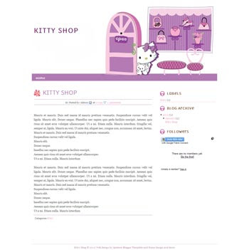 Kitty Store blogger template. cute design blogger template. download online store template for blog